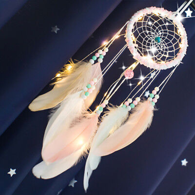 Nordic Handmade Lace Dream Catcher Feather Bead Wall Door Hanging Ornament Gift