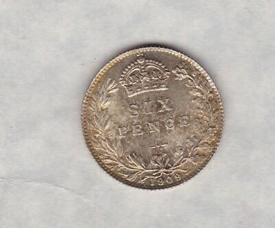 1909 Edwardian Sixpence In Near Perfect Condition