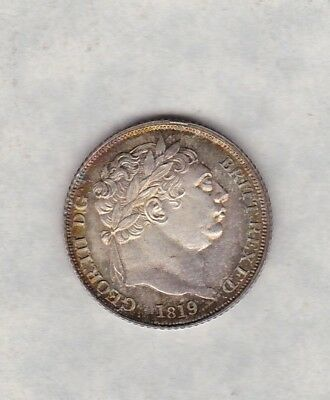 1819 George Iii Sixpence In Near Mint Condition