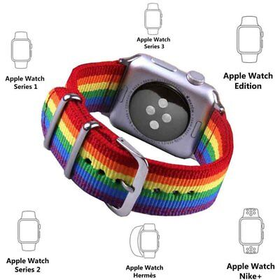 2018 Pride Edition Woven Nylon Band Rainbow Stripe Bracelet For Apple Watch 42mm