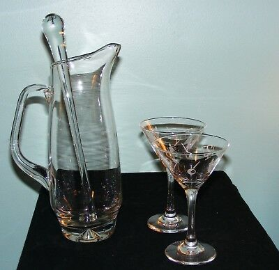 Vintage Crystal Cocktail Martini Pitcher Mixer with 2 Martini Glasses & Stirrer