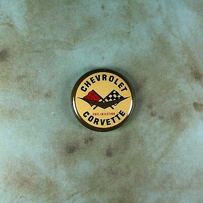 "Vintage Style Decal Pinback Button  1""  Chevy Corvette Fuel Injection 1960's"