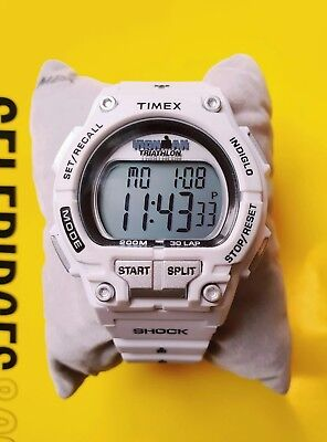 New Timex Ironman Triathlon Shock Digital Mens Watch T5K429 30 Lap 200m White