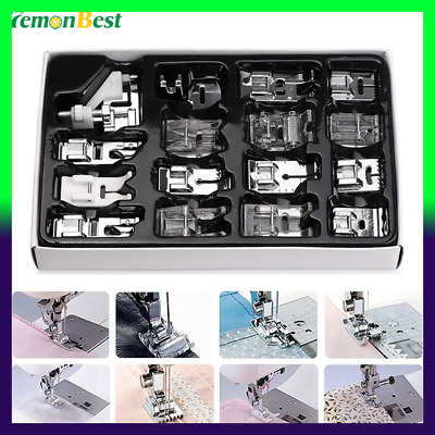 16Pcs Domestic Sewing Machine Accessories Presser Foot Feet Kit Set Hem Foot Spa