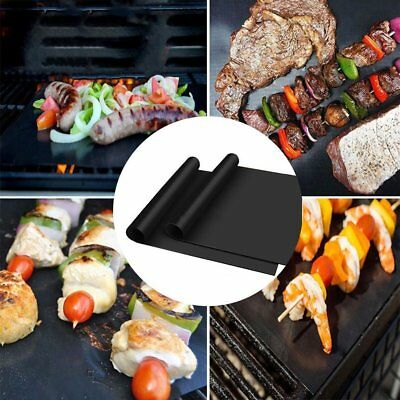 2pcs Reusable Non-stick Surface BBQ Grill Mat Baking Easy Clean Grilling BA
