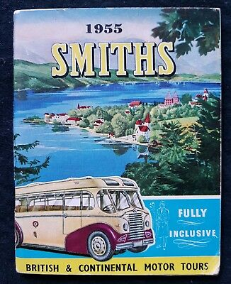 SMITHS MOTOR TOURS BROCHURE BOOKLET Old Vintage 1955 Bus Coach Europe Travel