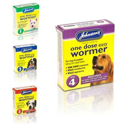JOHNSONS Dog ONE DOSE EASY WORMER Puppy Roundworm Tapeworm Worming Treatment