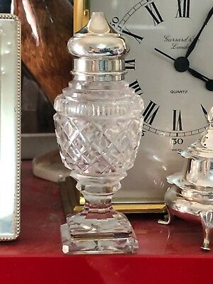 Sterling  Topped Salt - Hob Nail Glass - George Unite & Sons & Lyde - Birmingham