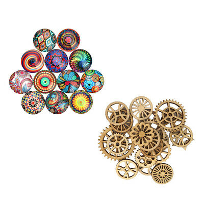 70Pcs Flat back Glass Cabochons Jewellery Finding Crafts Wood Pieces Decor