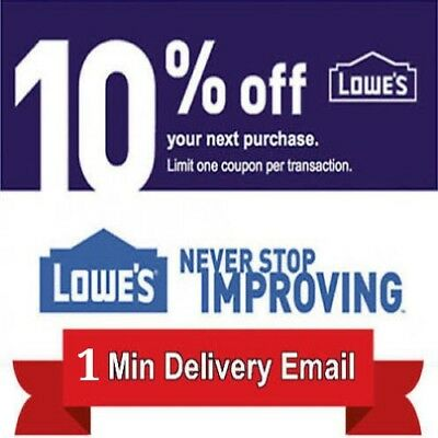 2 Lowes 10% Discount Code- 2COUPON Fast Delivery-InStore/Online~Good to 12/31/18