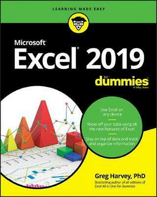 Excel 2019 for Dummies by Greg Harvey Paperback Book Free Shipping!