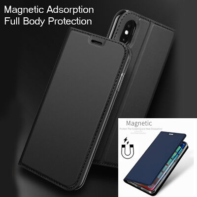 Luxury Leather Slim Shockproof Hybrid Flip Case Cover for Apple iPhone XS Max XR