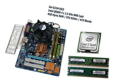 Bundle Gigabyte GA-G31M-ES2L Board S775 + Intel QUAD 4x2,4 +  4GB RAM / Blende +