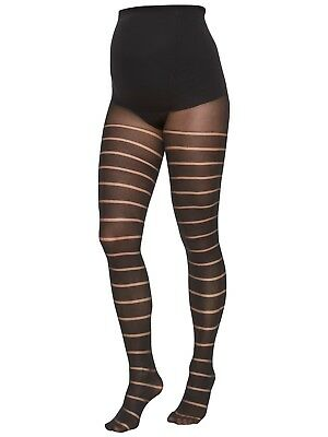 Mamalicious Maternity Black Stripe Tights Opaque - 3 sizes RRP £12