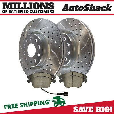 4 Ceramic Brake Pads 2 Silver Drilled And Slotted Performance Brake Rotors