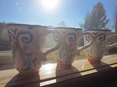"Fitz & Floyd Tall Mugs, set of 3 hand painted in Ricamo Pattern, 5.5"" tall"