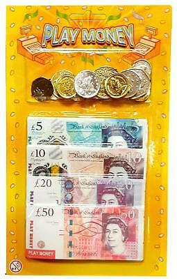 Children Kids Play Fake Pretend Money Role Shops Cash £ Pound Notes Coins Toy