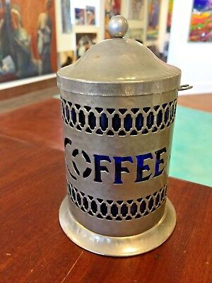 Vintage Coffee Canister Container Cobalt Blue