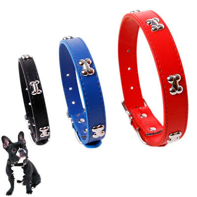 Dog Collar PU Leather Puppy Pet Collars Bone Charms Decoration Rivet Dogs Collar