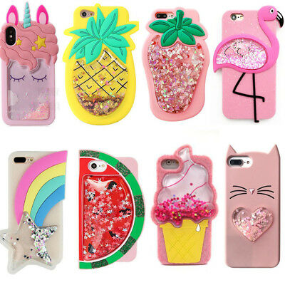 For iphone 5 SE 6 7 8 X Phone Case 3D Cute Cartoon Quicksand Silicone Soft Cover