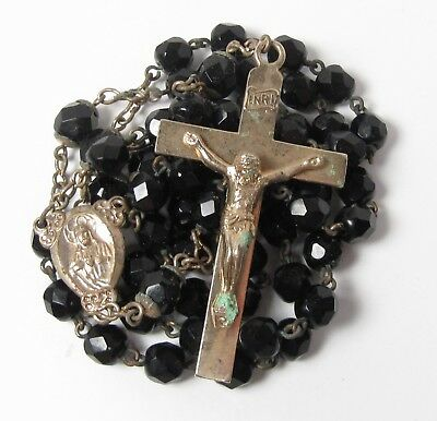Vintage Black Crystal Bead Rosary Gold Tone Crucifix Sacred Heart Jesus 18.5""