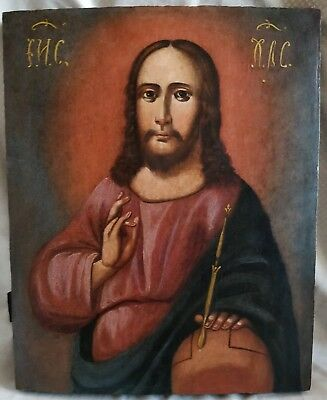 Russian Orthodox hand painted icon 19th century  of Jesus Christ.
