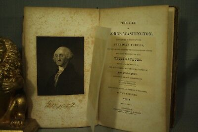 The Life of George Washington antique old leather book 1848 distressed decor