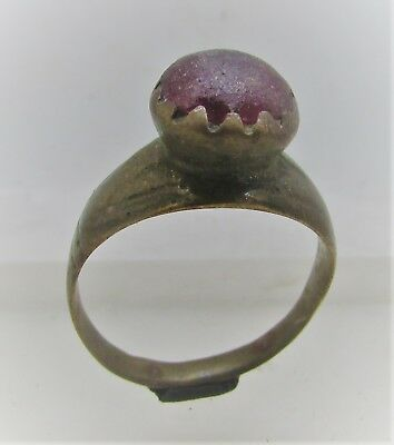 Late Byzantine Era Bronze Finger Ring With Red Stone Insert