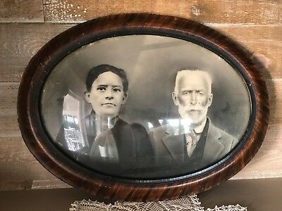 Antique Victorian Convex Bubble Glass Tiger Grain Wood Frame Lady and Gentleman