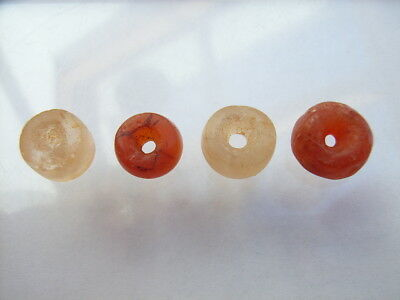 4 Ancient Neolithic Carnelian, Rock Crystal Beads, Stone Age, RARE !!