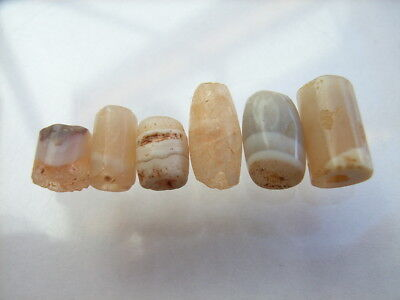 6 Ancient Neolithic Agate Beads, Stone Age, VERY RARE !!