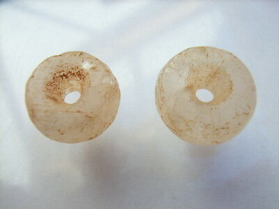 2 Ancient Neolithic Rock Crystal Beads, Stone Age, VERY RARE !!