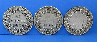 (3) Victoria 50 Cents Newfoundland Coin Lot - 1885 1894 1896 Sterling Silver