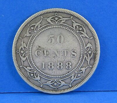 1888 Victoria 50 Cents Newfoundland Coin 925 Sterling Silver Low Mintage