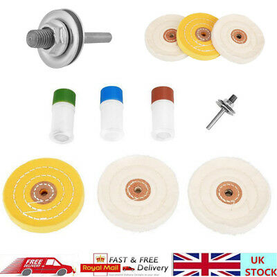 7PCS Metal Cleaning & Polishing Buffing Mop Wheel Kit & Compound Blocks Drill