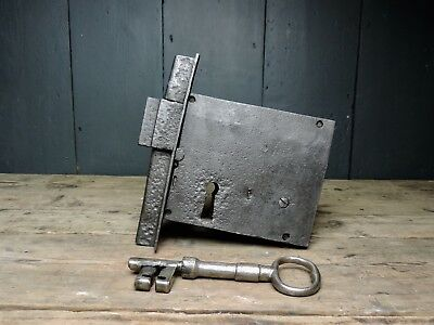 Antique 18th Century Large Georgian Iron Door Lock & Key