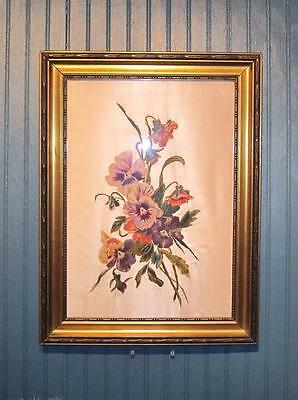 Pair of Beautiful Crewel Needle Work Embroidery Florals on Silk Framed!