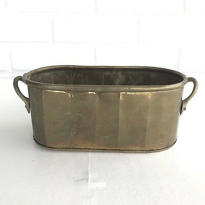 Vintage Small Brass Planter Pot Side Handles Made in India
