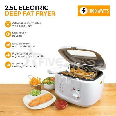 White Electric Deep Fat Fryer 2.5L  Safe Basket & Handle With Window Lid