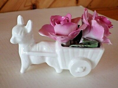 """Staffordshire Fine China Cart Pulled by a 3.5"""" inch  Donkey filled with Roses"""