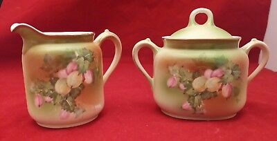 Weimar Germany Porcelain Sugar Bowl & Creamer Pitcher Hand-painted Fruit