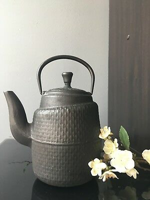 Antique Black cast iron Japanese vintage asymmetrical teapot loose leaf
