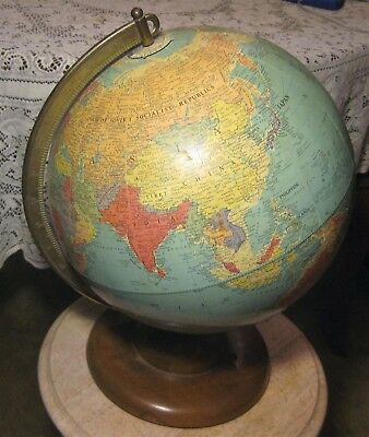 "RARE Vintage 1949 Replogle 12"" Rotating Globe Wood Base"