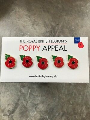 Poppy Centenary Pin Badge Collection - 5 badges 1914 to 1918