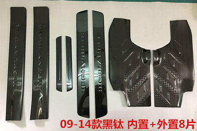 Stainless Steel Black Door Sill Scuff Plate For Toyota Highlander 2008-2013 8PCS