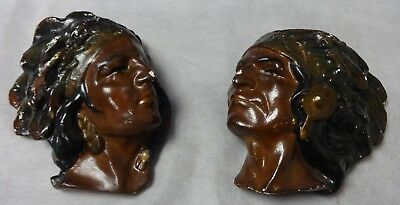 Pair of Antique Painted Plaster Indian Wall Mounted Match Holders Ca. 1920's