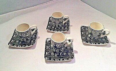 Vintage 1970s Modern Black & White Demitasse Cup & Saucer Set of 4