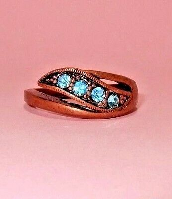 Vintage Copper Band Ring with Blue Rhinestones Size 9.5