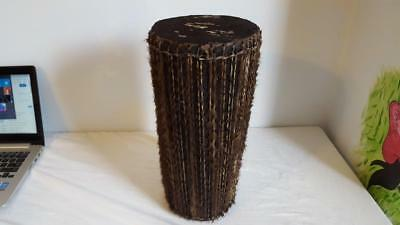 """Vintage Antique Authentic 15.5""""tall African Drum, Hide With Hair Ends+Side Cords"""