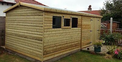 SHED/WORKSHOP 16x8 HEAVY DUTY 22MM LOG LAP  3x2 FRAMING FREE DELIVERY/FITTING
